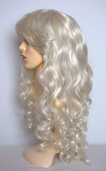 "22"" Ladies Full Length Long WIG CURLY Platinum Blonde #16/60 / D"