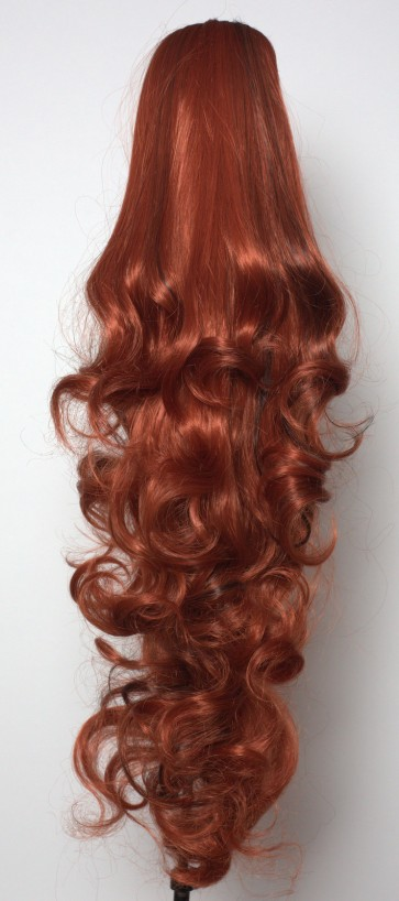 "22"" PONYTAIL FALLING CURLS Copper/Dark Brown Highlights #350/H4"