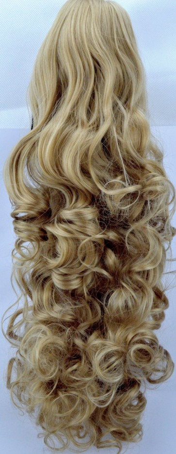 "22"" PONYTAIL CURLY Honey Blonde REVERSIBLE Claw Clip"