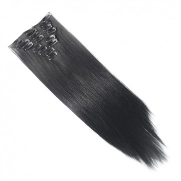 15 Inch Clip in Hair Extensions Straight 8pcs - Jet Black #1