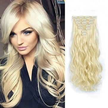 "20/22"" Clip in Hair Extensions CURLY Light Blonde #613 FULL HEAD 8pcs"