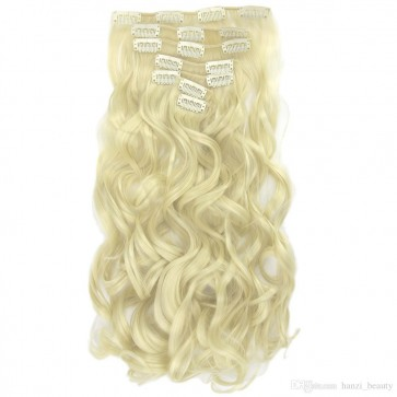 "20/22"" Clip in Hair Extensions CURLY Lightest Blonde #60 FULL HEAD 8pcs"