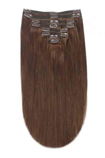 18 Inch Clip in Hair Extensions Straight 8pcs - Medium Brown #6