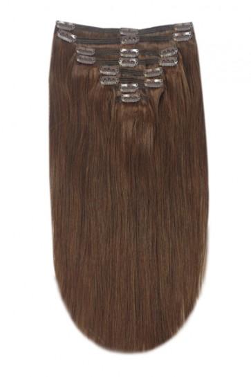 "15"" Clip in Hair Extensions STRAIGHT Medium Brown #6 FULL HEAD 8pcs"