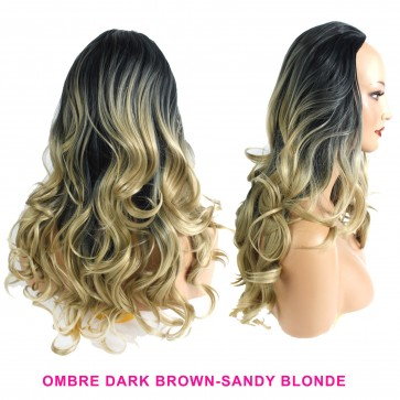 22 Inch Ladies 3/4 Wig Wavy - Dark Brown / Sandy Blonde Ombre