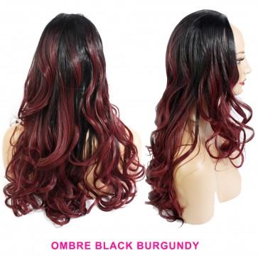 22 Inch Ladies 3/4 Wig Wavy - Black / Burgundy Ombre