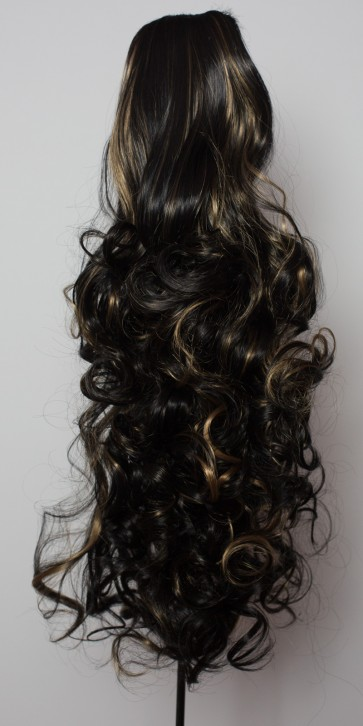22 Inch Ponytail Curly Claw Clip - Black/Blonde Highlights #1BH27