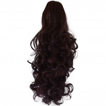 "17"" PONYTAIL CURLY Dark Plum #99J/1 REVERSIBLE Claw Clip"