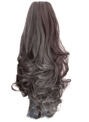 22 Inch Ponytail Curly Claw Clip - Light Ash Brown