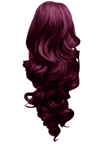 """17"""" PONYTAIL CURLY Rich Wine #35 REVERSIBLE Claw Clip"""