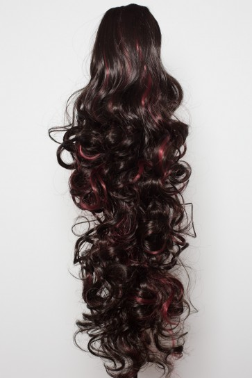 "22"" PONYTAIL CURLY Darkest Brown/Red Highlights Reversible Claw Clip"