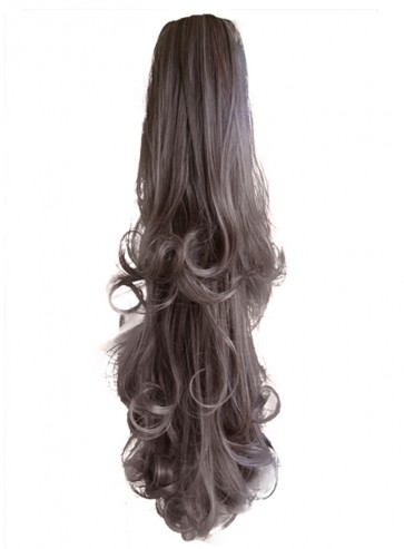 22 Inch Ponytail Falling Curls Claw Clip - Light Ash Brown
