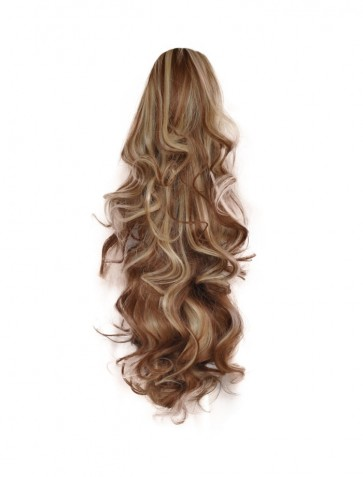 "22"" PONYTAIL FALLING CURLS Medium Brown/Blonde #6/613 REVERSIBLE Claw Clip"