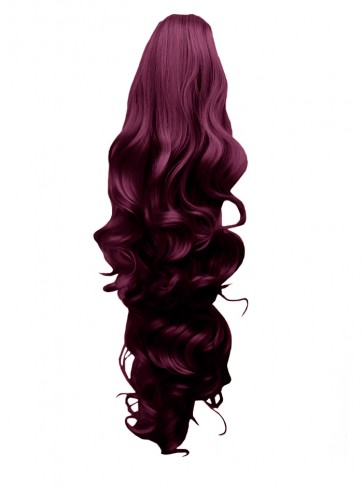 """22"""" PONYTAIL FALLING CURLS Rich Wine #35 REVERSIBLE Claw Clip"""