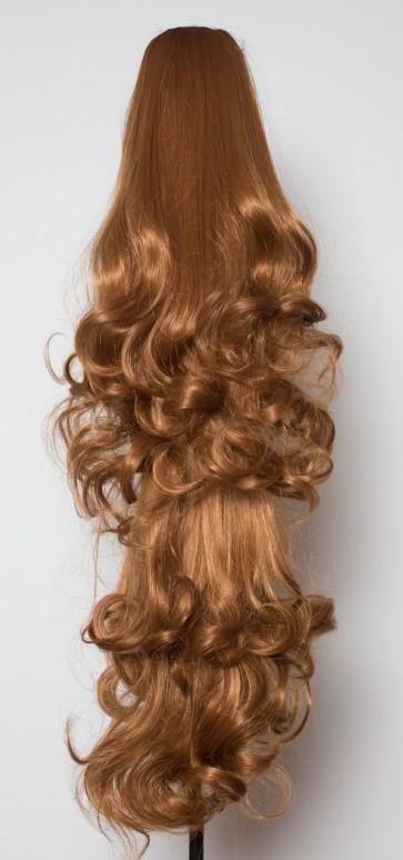 22 Inch Ponytail Falling Curls Claw Clip - Light Auburn