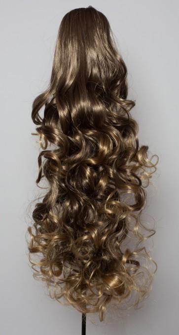 22 Inch Ponytail Curly - Medium Brown/Blonde Tips