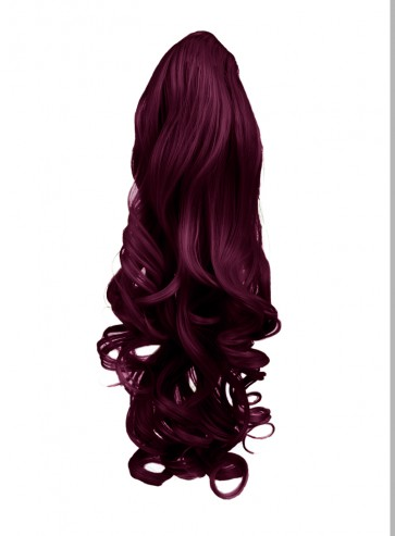 "22"" PONYTAIL WAVY Rich Wine #35 REVERSIBLE Claw Clip"