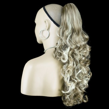 17 Inch Ponytail Curly - Ash Brown/Blonde Mix #10/613 REVERSIBLE Claw Clip