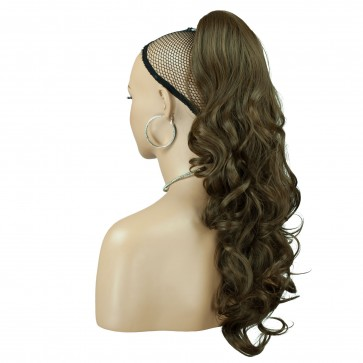 22 Inch Ponytail Wavy - Ash Brown #10 Claw Clip