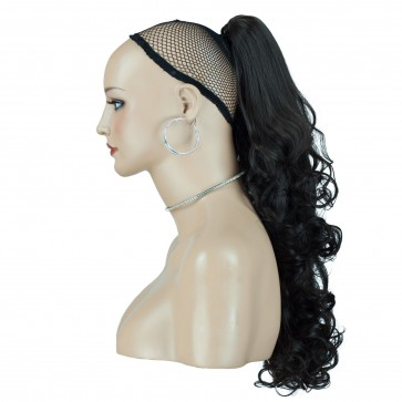"22"" PONYTAIL FALLING CURLS Darkest Brown #2 REVERSIBLE Claw Clip"