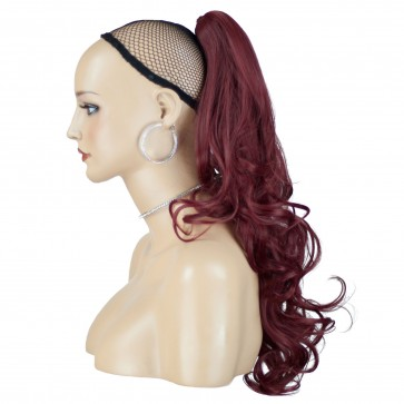 """22"""" PONYTAIL WAVY Burgundy REVERSIBLE Claw Clip"""