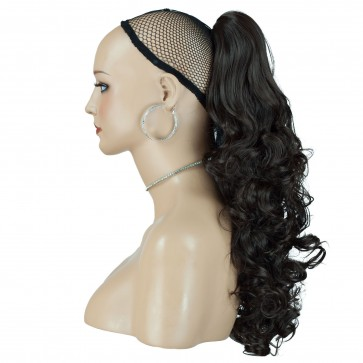 "17"" PONYTAIL CURLY Medium Brown #6 REVERSIBLE Claw Clip"