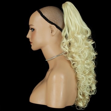 22 Inch Ponytail Curly Claw Clip - Bleach Blonde