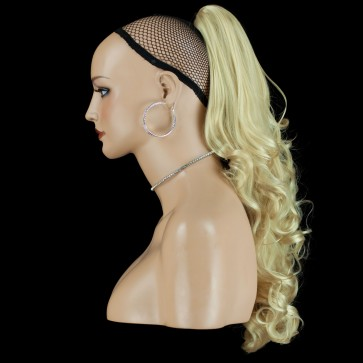 "22"" PONYTAIL FALLING CURLS Light Blonde #613 REVERSIBLE Claw Clip"