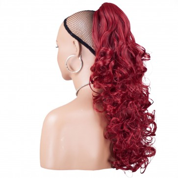 "22"" PONYTAIL CURLY Pillar Red REVERSIBLE Claw Clip"