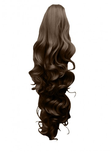 """22"""" PONYTAIL FALLING CURLS Light Chocolate Brown #12/18 REVERSIBLE Claw Clip"""