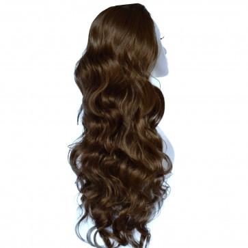 22 Inch Ladies 3/4 Wig Wavy - Light Chocolate Brown