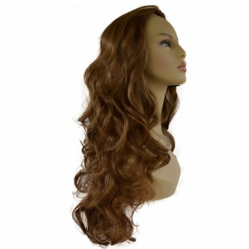 22 Inch Ladies 3/4 Wig Curly - Light Brown
