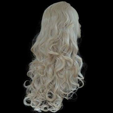 """22"""" Ladies 3/4 WIG Half Fall CURLY Champagne Blonde #22"""
