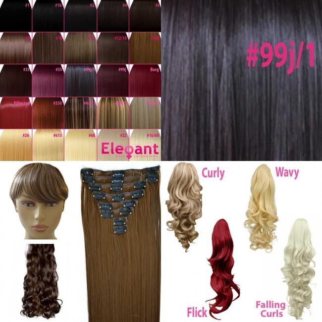20 Clip In Hair Extensions Straight Dark Plum 99j1 Full Head 8pcs