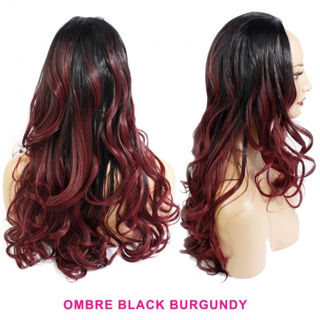 22 Ladies 3 4 Wig Half Fall Wavy Black Burgundy Ombre Dark