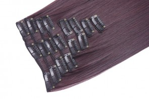 "15"" Clip in Hair Extensions STRAIGHT Dark Plum #99J/1 FULL HEAD 8pcs"