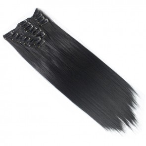 22 Inch Clip in Hair Extensions Straight 8pcs - Natural Black