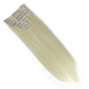 18 Inch Clip in Hair Extensions Straight 8pcs - Bleach Blonde