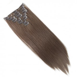 15 Inch Clip in Hair Extensions Straight 8pcs - Chocolate Brown