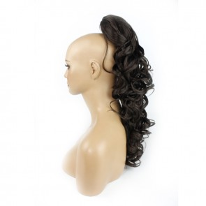 22 Inch Ponytail Wavy Claw Clip - Medium Brown