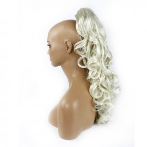 22 Inch Ponytail Curly Claw Clip - Platinum Blonde