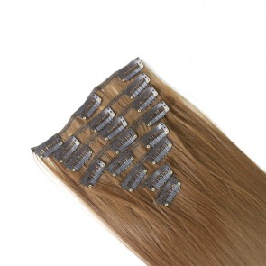 15 Inch Clip in Hair Extensions Straight 8pcs - Light Auburn