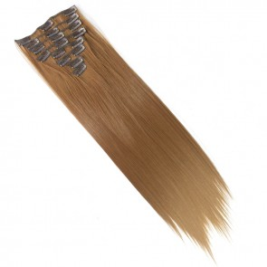 18 Inch Clip in Hair Extensions Straight 8pcs - Light Auburn
