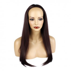 22 Inch Ladies 3/4 Wig Straight - Dark Plum
