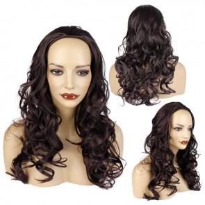 22 Inch Ladies 3/4 Wig Wavy - Dark Plum