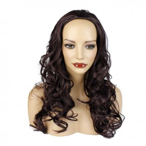 22 Inch Ladies 3/4 Wig Wavy - Dark Plum