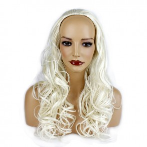 "22"" Ladies 3/4 WIG Half Fall WAVY White Blonde #60M/1"