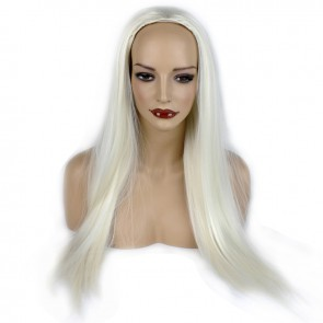 25 Inch Ladies 3/4 Wig Straight - White Blonde