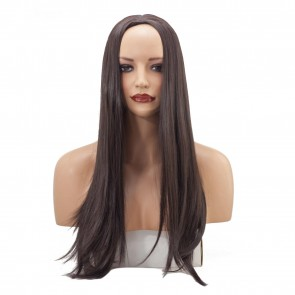22 Inch Ladies 3/4 Wig Straight - Dark Brown