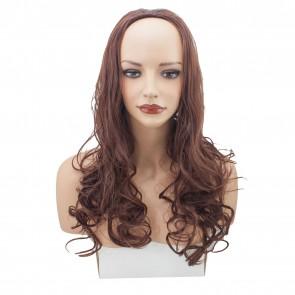 22 Inch Ladies 3/4 Wig Curly - Dark Auburn